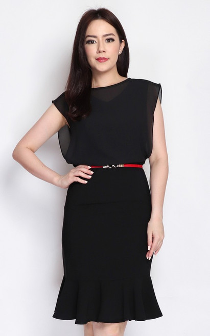 Chiffon Overlay Blouson Dress - Black