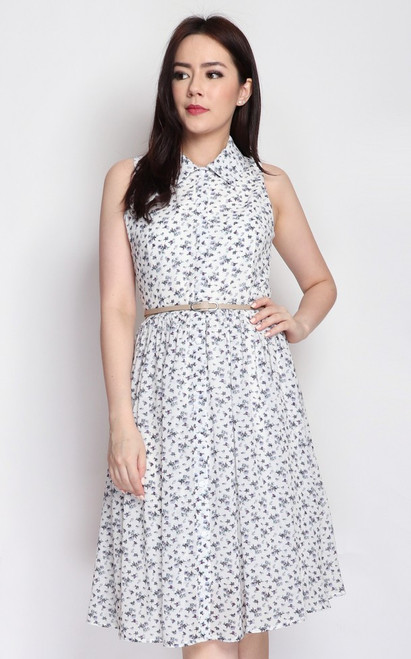 Floral Shirt Dress - White