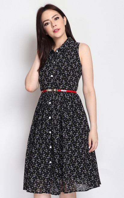 Floral Shirt Dress - Black