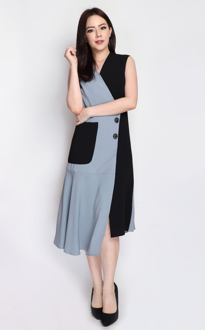 Asymmetrical Duo Tone Dress - Dusty Blue