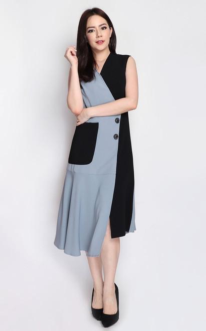 Asymmetrical Duo Tone Dress - Dusty Blue