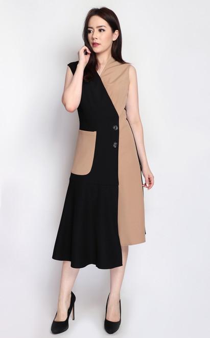 Asymmetrical Duo Tone Dress - Taupe