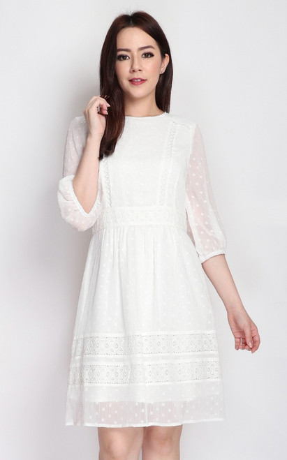 Crochet Trim Swiss Dot Dress - White