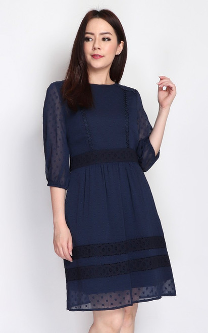 Crochet Trim Swiss Dot Dress - Navy