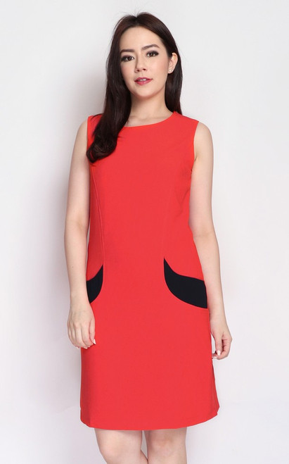 Contrast Pockets Shift Dress - Vermillion