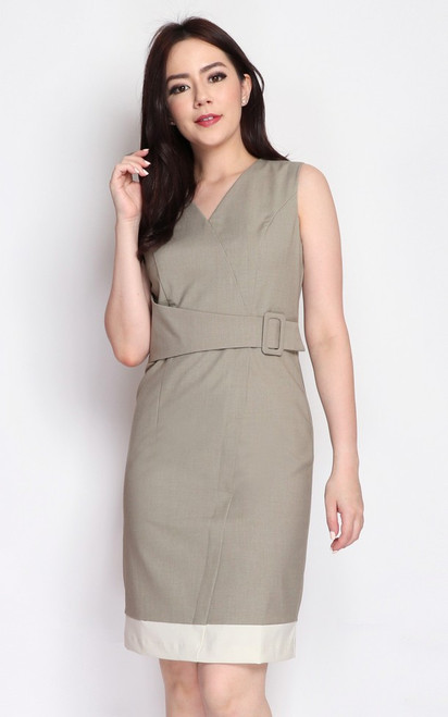Faux Wrap Buckle Dress - Sand