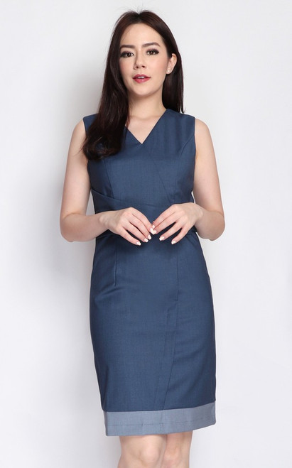 Faux Wrap Buckle Dress - Blue