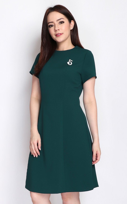 Fit Flare Dress - Forest Green