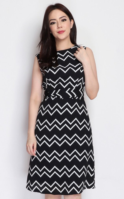 Monochrome Chevron Print Dress