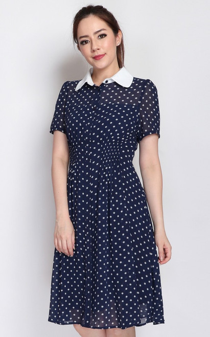 Collared Smocked Waist Dress - Navy