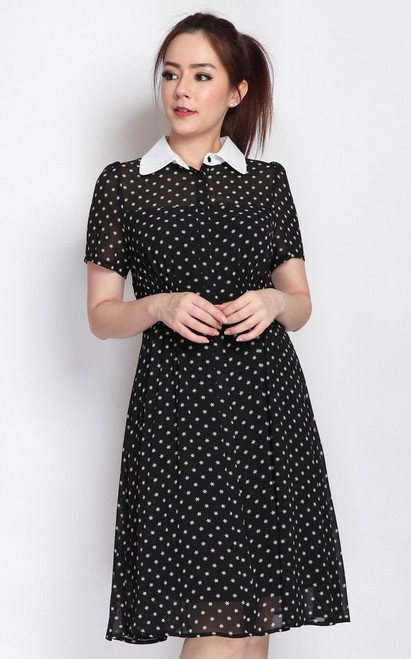 Collared Smocked Waist Dress - Black