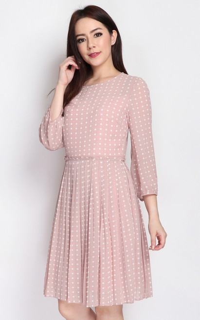 Polka Dot Pleated Paperbag Dress - Dusty Pink