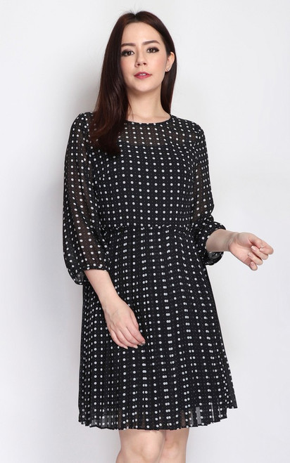 Polka Dot Pleated Paperbag Dress - Black