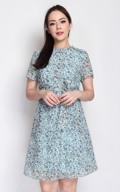 Printed Pintuck Chiffon Dress - Mint