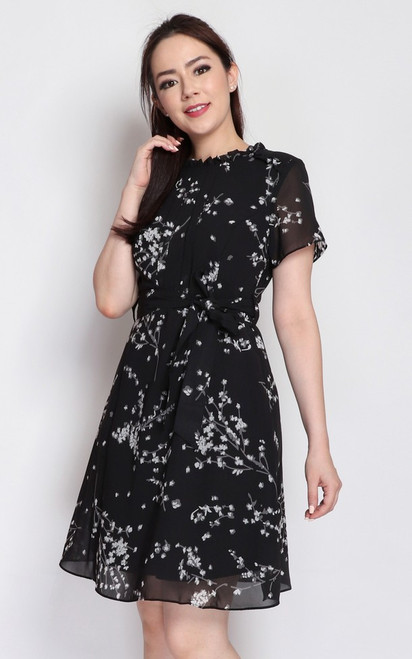 Printed Pintuck Chiffon Dress - Black
