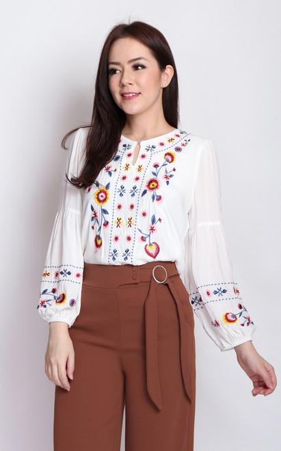 Embroidered Tunic Top - White