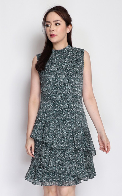Printed Tiered Hem Dress - Forest Green