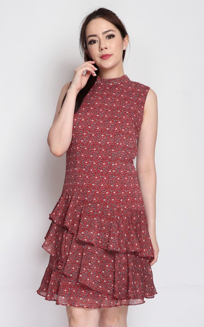 Printed Tiered Hem Dress - Red