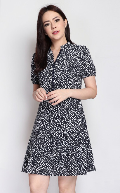 Spotted Buttons Dress - Navy