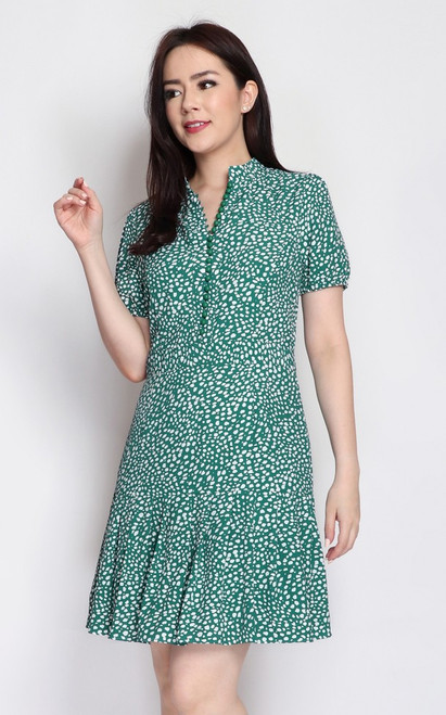 Spotted Buttons Dress - Green