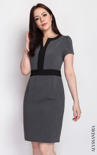 Notch Neck Pencil Dress - Grey