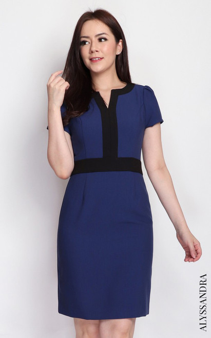Notch Neck Pencil Dress - Blue