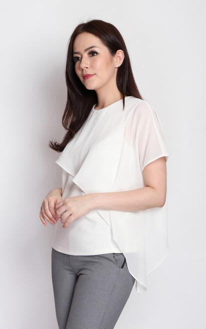 Asymmetrical Cape Top - White