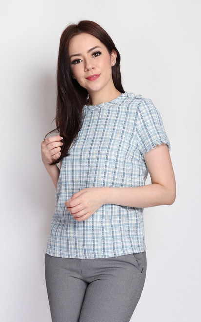 Checkered Tweed Blouse - Blue