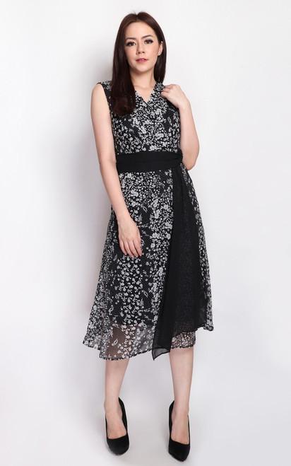 Floral Drape Flare Dress