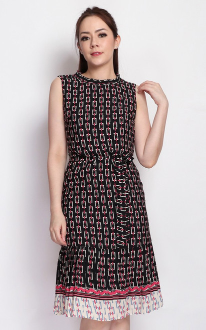 Chain Print Pleated Hem Dress - Black
