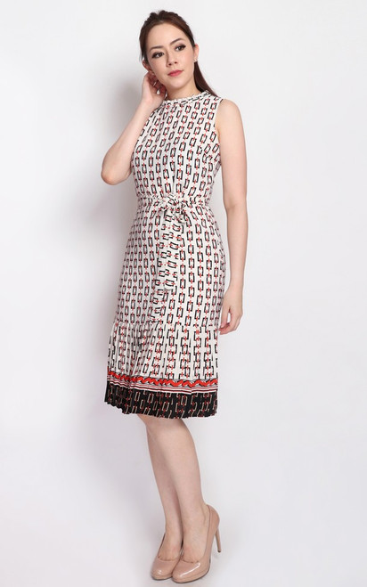 Chain Print Pleated Hem Dress - White