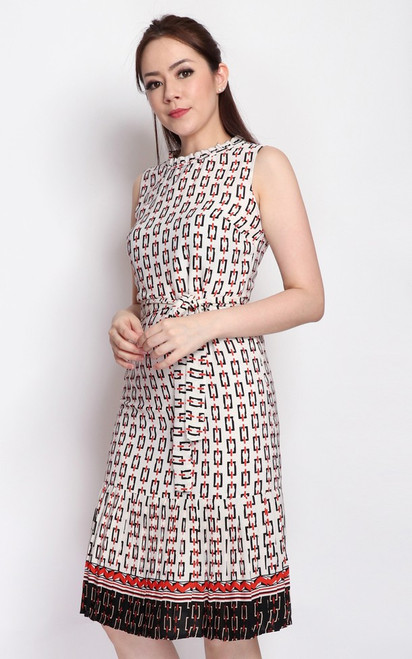 Chain Print Pleated Hem Dress - White