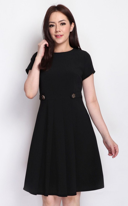 Waist Tab Dress - Black