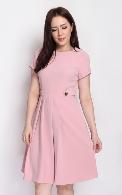 Waist Tab Dress - Dusty Pink