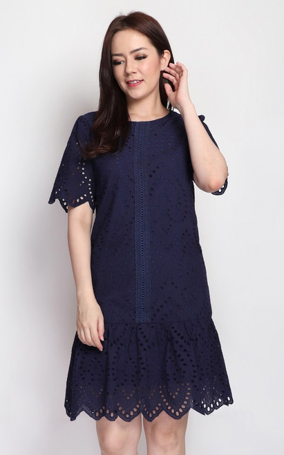 Eyelet Drop Waist Dress - Navy