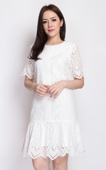 Eyelet Drop Waist Dress - White