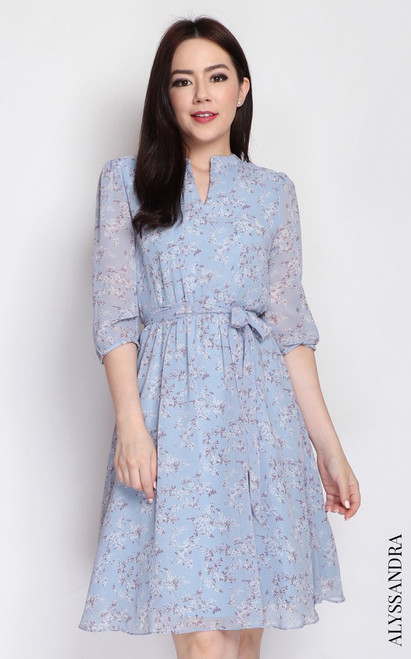 Floral Mandarin Collar Dress - Baby Blue