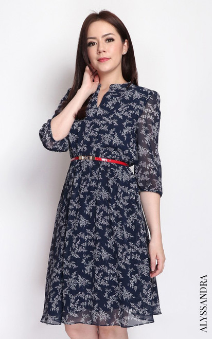 Floral Mandarin Collar Dress - Navy