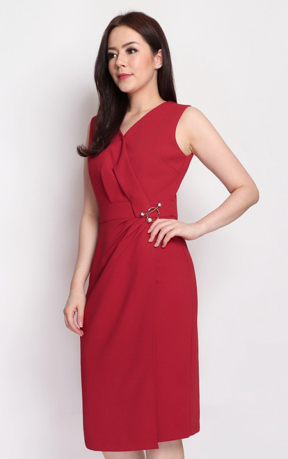 Brooch Wrapover Dress - Crimson