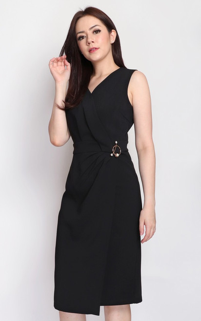 Brooch Wrapover Dress - Black