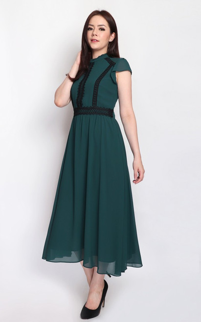 Crochet Trim Midi Dress - Forest Green