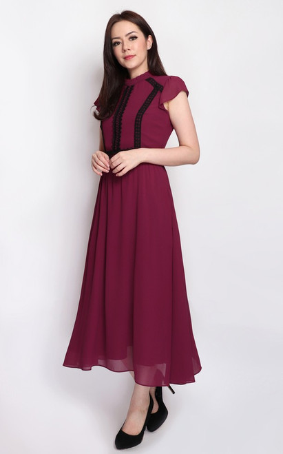 Crochet Trim Midi Dress - Cranberry