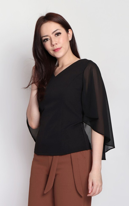 Chiffon Cape Top - Black