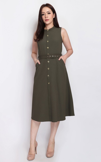 Buttons Flare Dress - Olive