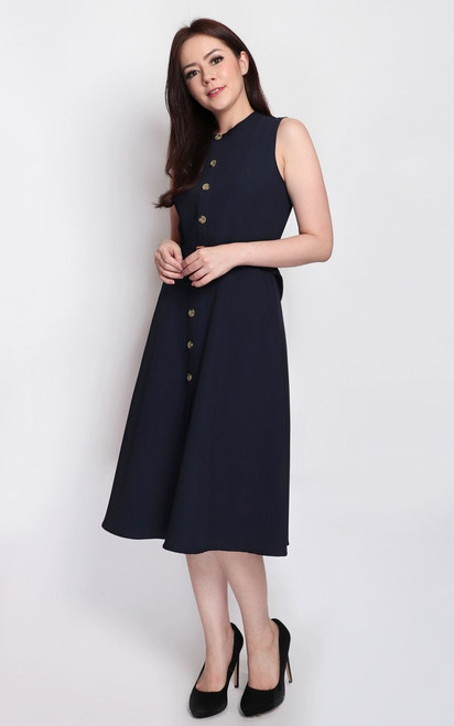 Buttons Flare Dress - Navy