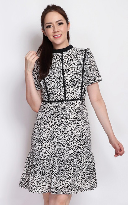 Leaf Print High Collar Dress - White