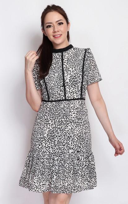 Leaf Print High Collar Dress - White