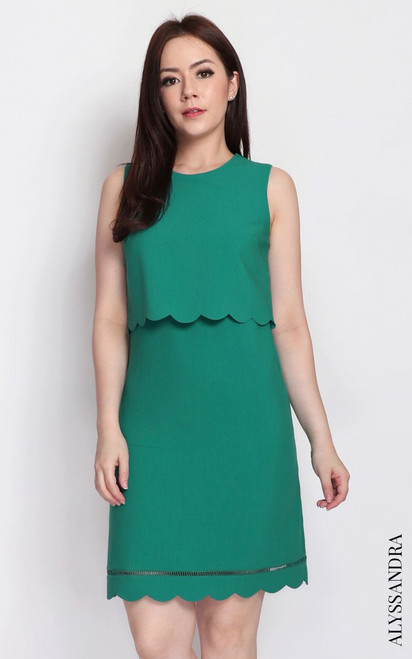 Scallop Dual Layer Dress - Green