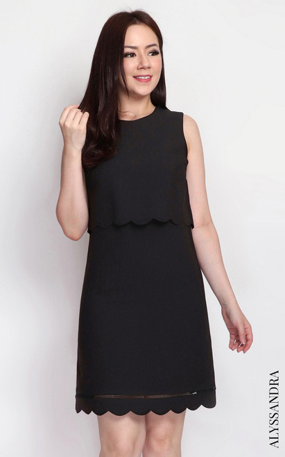 Scallop Dual Layer Dress - Black