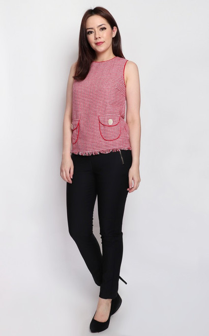 Houndstooth Top - Red